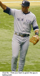 New York Yankees third baseman Alex Rodriguez has been dropped to sixth in the batting order.