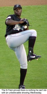 Florida Marlins starting pitcher Dontrelle Willis, the D-Train, was the man against the New York Mets last night.