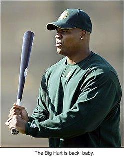Oakland A's designated hitter Frank Thomas, the Big Hurt, is having a fantastic comeback season.