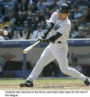 New York Yankee outfielder Hideki Matsui, Godzilla, has returned from his wrist injury.