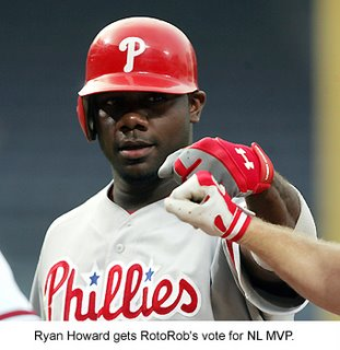 Philadelphia Phillies first baseman Ryan Howard deserves to take home the hardware this year.