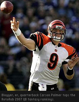 Cincinnati Bengals quarterback Carson Palmer, who doubles as a blogger, ascends to the top of the RotoRob 2007 QB rankings.