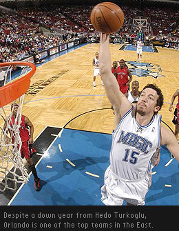 Orlando Magic SF Hedo Turkoglu is struggling this season, but he's been picked up by the rest of his team as the club has surged to the top of the Southeast Division.