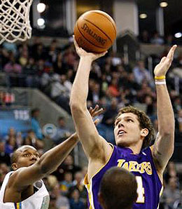 Los Angeles Lakers' small forward Luke Walton had his moment in the sun Monday.
