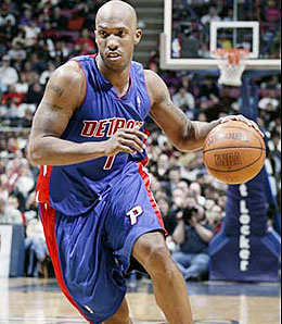 Detroit Pistons point guard Chauncey Billups hurt his groin Friday.