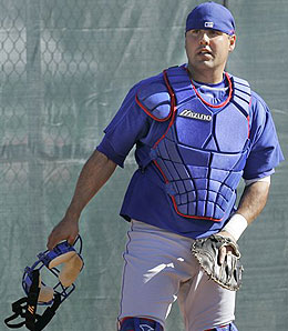 Texas Rangers catcher Gerald Laird takes over as the starter from Rod Barajas.