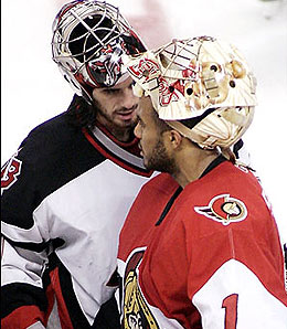 Can Ottawa Senators goalie Ray Emery outplay his Buffalo counterpart, Ryan Miller?