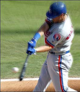 Texas Rangers first baseman Brad Wilkerson is pounding the ball right now.
