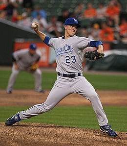 Zack Greinke is the defending Cy Young winner for the Kansas City Royals.