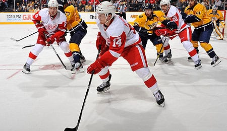 Gustav Nyquist is getting a chance on the top line for the Detroit Red Wings.