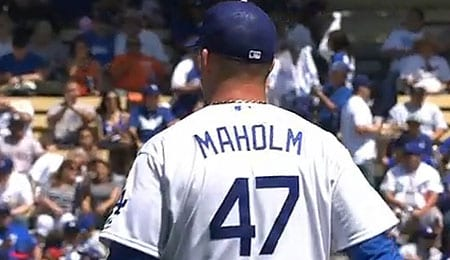 Paul Maholm was part of Los Angeles Dodgers history this week.