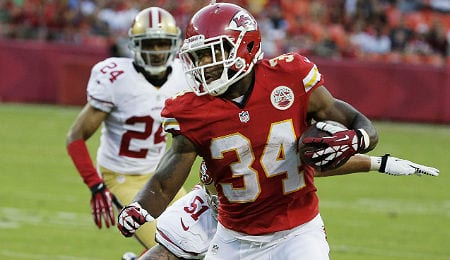 Knile Davis remains underowned for the Kansas City Chiefs.