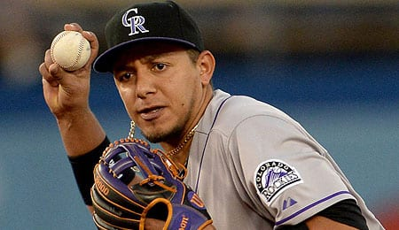 Cristhian Adames is trying to wrestle away the shortstop job for the Colorado Rockies.