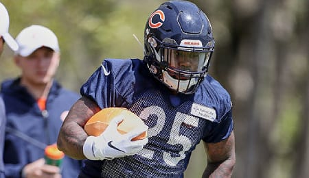 Mike Davis is currently the lead back for the Chicago Bears.