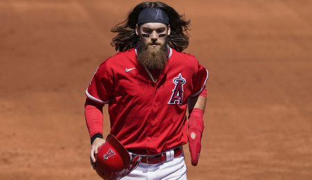 Brandon Marsh is hitting line drives for the Los Angeles Angels.